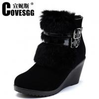Quality Hotest 2014 New furry winter fashion lady wedge warm shoes,free top design original shoes wholesale