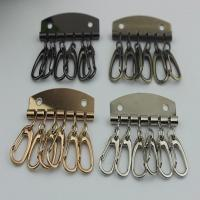 China Leather Key Case Wallets Unisex Keychain zinc alloy Key Holder Ring with 6 Hooks Snap Closure on sale
