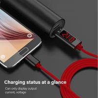 Quality 2.4A Type C mobile phone nylon data cable,1.2M Voltage and current intelligent display data cable for Apple, Android , wholesale