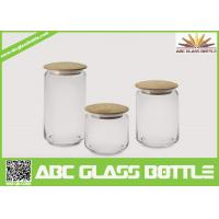 Quality Hot sales glass spice jars with wood lid wholesale
