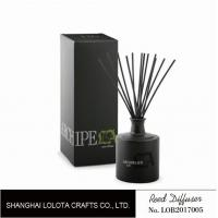 Quality Black round bottle glass reed diffuser with black sticker and folding box wholesale
