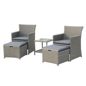 Quality Cube Wicker H850mm D630mm Sofa Rattan Table And Chairs Grey Color wholesale
