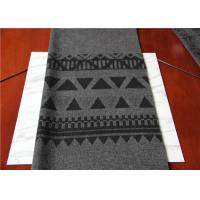 Quality Located 50% Wool Jacquard Scarf Fabric Gray And Black 150 Cm Width ISO9001 wholesale