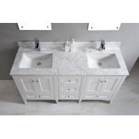 Quality Nature White Marble Bathroom Countertops , Marble Island Countertop With Oval Sink wholesale