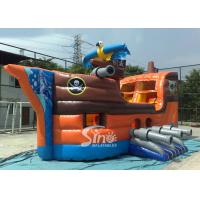China Outdoor commercial kids party inflatable pirate ship with slide N basketball hoop inside made of best material on sale