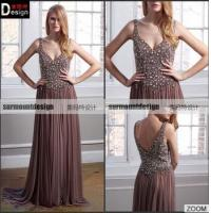 Quality Custaom made Beaed Bodice Spaghetti Straps Evening Dress Long Prom Dresses wholesale
