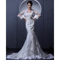 Quality Slim Vintage Lace Bra Appliques mermaid Wedding Dress with cape for Spring , Autumn wholesale