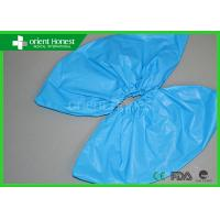 China Outdoor Waterproof CPE Disposable Medical Shoe Covers 40 x 15cm , Blue on sale