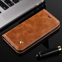 Quality Oily Vintage Iphone 7 Leather Wallet Case , Full Protection Magnetic Wallet Case wholesale