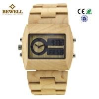 Quality Unique Gift Maple Wooden Watches For Men , Square Wooden Wrist Watch wholesale