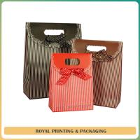 Quality large size paper bag /shopping bag with beautiful silk ribbon wholesale