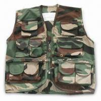 Quality Free Camo Vest with Pockets, T/C Fabric, Velcro, Button, Zipper, and Lables wholesale