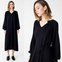 China Autumn Women Clothing Black Midi Knit Dress on sale
