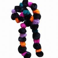 Quality Rabbit Fur Ball Scarf, Various Designs are Available wholesale