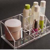 Quality Clear acrylic cosmetic display / acrylic makeup display with Grid wholesale