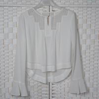 Quality Hollow Lace Casual White Chiffon Blouse Long Sleeves For Young Ladies wholesale