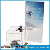 Cheap customized hot sale clear acrylic donation box with locks high quality for sale