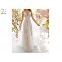 Quality Sexy A Line Bridal Gowns / Sling Beige Deep V Neck Wedding Gown Laces Beading wholesale