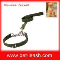 Quality Nylon Metal chain Dog collars Dog leash QT-0082 wholesale