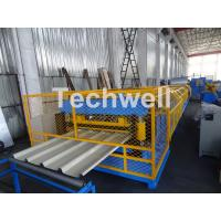 Quality Customized Trapezoidal Profile Roof Roll Forming Machine With Hydraulic Post Cutting Device wholesale
