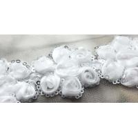 China white 3row 3D rose sequin venise lace fabric trim sewing DIY dress L147 on sale