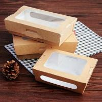 China disposable kraft take away food packaging box with window on sale