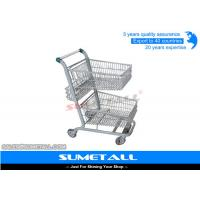 China Metal Double Basket Shopping Cart , 2 Basket Shopping Trolley For Supermarket on sale