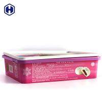 China Purple PP Plastic IML Box 450g  Moon Cake Packaging Customized Label on sale