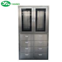China Stainless Steel Medical Cabinet With 8 Pcs Drawer Half Swing Door Adjustable Shutter on sale