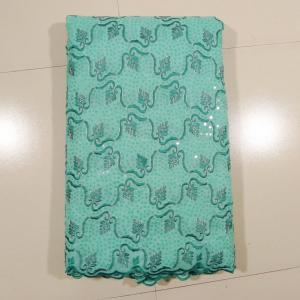 China Drapery African Lace Curtain Fabric , Blue Double Tunji on sale