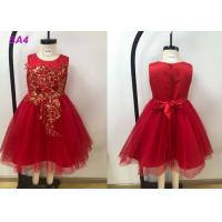 Quality Lace Patterns Beading Princess Flower Girl Dresses / Short Tail Red Flower Girl Dresses wholesale
