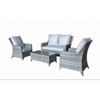 China Patio Rattan Sofa Set 4 Pcs Wicker Garden Furniture Outdoor Sectional Couch on sale