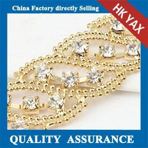 China Gold plated rhinestone chaining,high quality rhinestone chaining,gold plated brass chains on sale