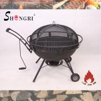 Quality outdoor firepit BBQ grill on wheels wholesale