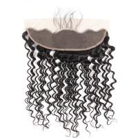China Brazilian Remy Hair Deep Wave Frontal 13X4 Lace Frontal with Baby Hair on sale