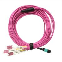 China 8 Fiber MTP-4LC Duplex 10G OM3 Fiber Optic Harness Fan Out / Breakout Cable on sale