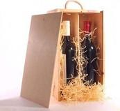 Quality Handmade Unfinished Wooden Wine Box With Slid Lid Two Bottle Use wholesale