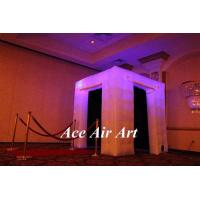 Quality 2016 portable inflatable enclosure with black interior wall, two doors led inflatable photo booth for sale wholesale
