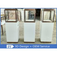 Quality Luxury Jewellery Shop Display Cabinets Square Matte White Stain Steel Frame wholesale