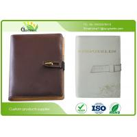 Quality Custom Office Stationery Brown Faux PU Loose Leaf Notebook A5 With Ribbon / Pocket wholesale