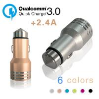 Cheap Dual USB Port Car Universal Charger QC3.0 For Smartphones / MP3 / MP4 / iphone/ipad for sale