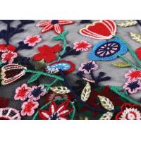 Quality Black Colorful Flowers Embroidery Lace Hand Beaded Fabric For Curtain / Garment wholesale