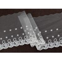 Quality Floral Embroidery Nylon Lace Trim With Cotton Fiber For Bridal Dress Ribbon wholesale