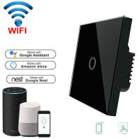 Quality Wifi Light Switch For Mobile APP Remote Control touch switch white 1 Gang EU Standard wholesale