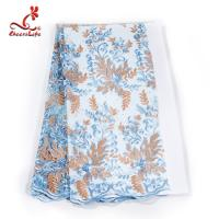 Quality French Luxury Embroidered Lace Fabric / Dress Voile Tulle Lace Fabric Flowers Decoration wholesale
