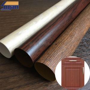China Vacuum Membrane Press High Gloss PVC Sheet For Doors / Wood Texture Pattern on sale