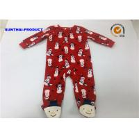 Quality Snowman Print Applique Baby Pram Suit Red Color Long Sleeve Over Tab Coverall wholesale