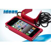 Quality Wallet Red Apple iPhone Leather Cases , Magnetic iPhone 5 Leather Covers wholesale