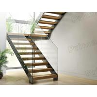 Quality prefabricated stairs glass railing wood tread staricase with double  beam stringer wholesale