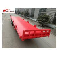 China 13 Meters 3 Axles Commercial Flatbed Trailer With Dual Line Brake System on sale
